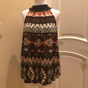 NWT Moa Moa Indian print Tieback knit top